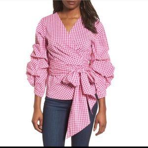 Halogen 1x pink gingham wrap top